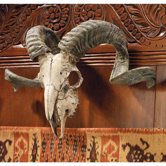 Ram Skull and Horns Wildlife Wall Trophy Sculpture Statue Figurine
