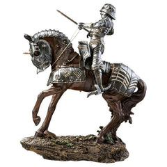 "14"" Classic Silver Medieval Knight Sculpture Statue"