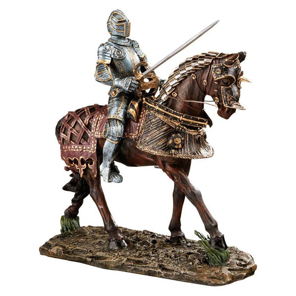 "14"" Red Knight English Warrior Desktop Table Statue Sculpture Figurine"