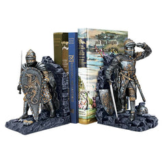 Decorative Medieval Arthurian Legend Knight Metallic Tone Bookends