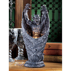 "14"" Dracula Dragon Sculpture Statue Table Lamp"