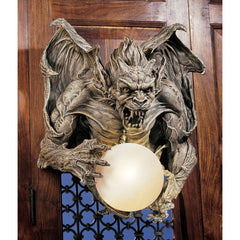 "17"" Scary Ferocious Dragon Gargoyle Wall Light Sculpture Statue Figurine Decor"