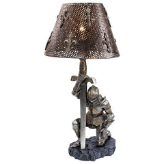 "22"" Decorative Gothic Medivial Knight Sword Sculptural Table Lamp Statue"
