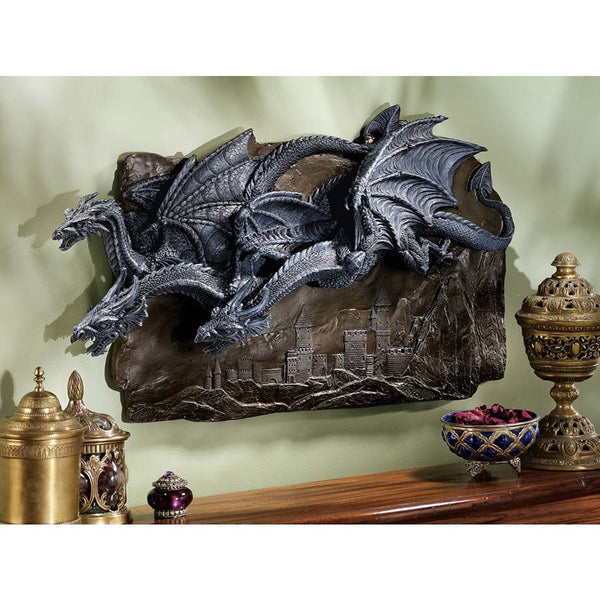 "30""w Classic Gothic Medieval Winged Dragons Parade Wall Sculpture Statue Décor"
