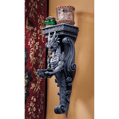 "14.5"" Classic Gothic Medieval Dragon Wall Shelf Caryatids"