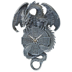 "15"" Gothic Dragon Wall Sculpture Decorative Clock [Kitchen]"