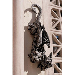 Gothic Winged Double Headed Dragon Gargoyle Wall Sculpture Statue [Kitchen]