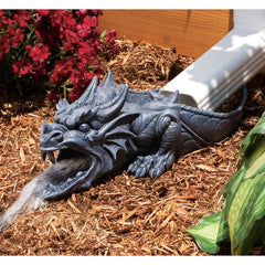 "15"" Sculptural Fire Spitting Dragon Rainspout Downspout Home Garden Statue"