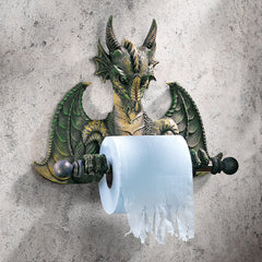 "13"" Cute Gothic Sculptural Dragon Decorative Bathroom Tissue Holder"