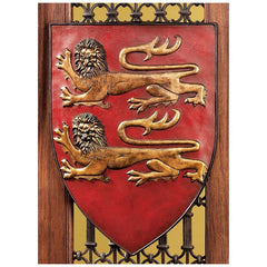 "17"" French Heraldic William of Normandys lions Wall Shield/ Red"