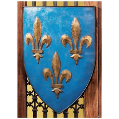 "17"" French Heraldic William of Normandys lions Wall Shield /Blue"