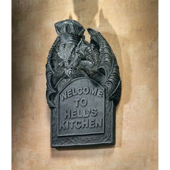 Gothic Medieval Dragon Kitchen Wall Statue Sculpture Plaque Decor