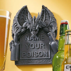 "8"" Medieval Dragon Beer Booze Statue Sculpture Wall Plaque"