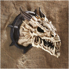 Medieval Gothic Dragon Skull Wall Sculpture Statue Décor