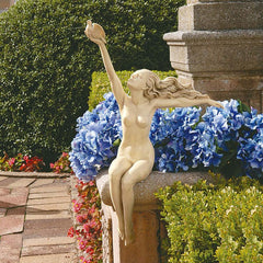 "23.5"" Classic Nude Erotic Female Sitting Beauty Home Garden Sculpture Statue"
