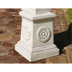 "21"" Classic English Rosette Home Garden Sculptural Base Column"