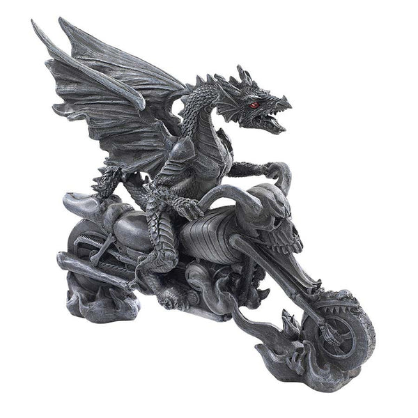 Crazy Gothic Winged Biker Dragon Chopper Table Desktop road warrior Sculpture Statue