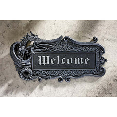 Gothic Medieval Dragon Welcome Wall Door Plaque Sculpture