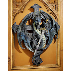 "18""Classic Gothic Dragon Sword Wall Sculpture Statue Decor"