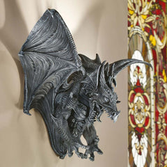 "14"" Gothic Dragon Bat Wall Sculpture Statue Figurine Decor"