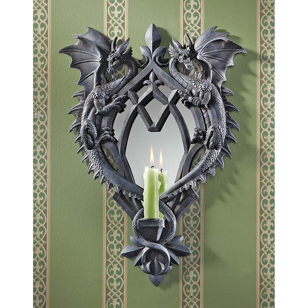 "17.5"" Medieval Gothic Twin Dragon Mirrored Wall Sculpture Statue/ Candle Holders"