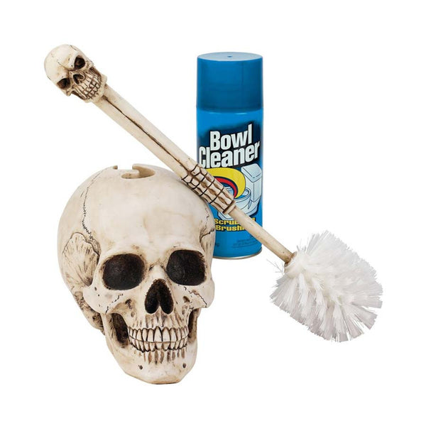 "16"" Gothic Skull Statue Sculpture Decorative Bathroom Toilet Bowl Brush"