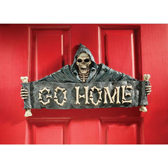 Scary Skull Reaper Door Welcome Sign Wall Sculpture (Xoticbrands)