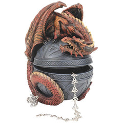 "6.5"" Classic Gothic Medieval Dragon Orb Statue Sculpture Treasure Jewelry Box"