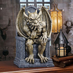 "19"" Gargoyle Throne Thinker Statue Sculpture Figurine"