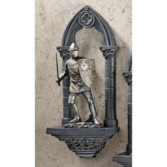 Medieval Arthurian English Knights 3-dimensional Wall Shelf Sculpture Statue ...