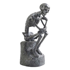 "10"" The Gothic Skeleton Thinker Statue Sculpture"