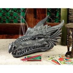 Medieval Gothic Dragon Head Sculpture Incense Burner Holder with 3 Sticks