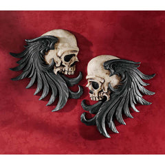 Gothic Skull Wall Sculptures Statue Figurine Decor - Set of 2