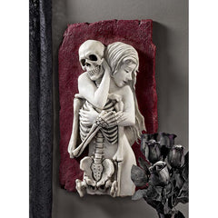 Life and Death Couple Lovers Memorial Embrace Wall Sculpture Statue Decor