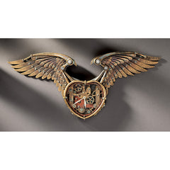 "26.5"" Victorian Steampunk Winged Sculpture Wall Timepiece Clock"