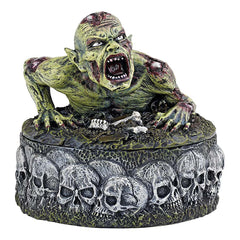 Gothic Zombie Skull Statue Lidded Treasure Box
