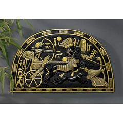 "20""W Ancient Egyptian Tutankhamen at Hunt in his Chariot Wall Sculpture"