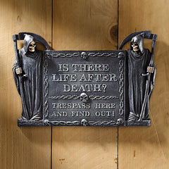 Gothic Grim Reaper No Trespassing Wall Sculpture