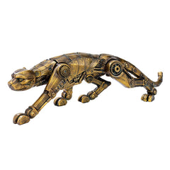 15½ inches Wide Cyber Leopard Brass Statue