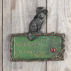 "7"" Mystical Witch Feline Cat Wall Sculpture Decor"