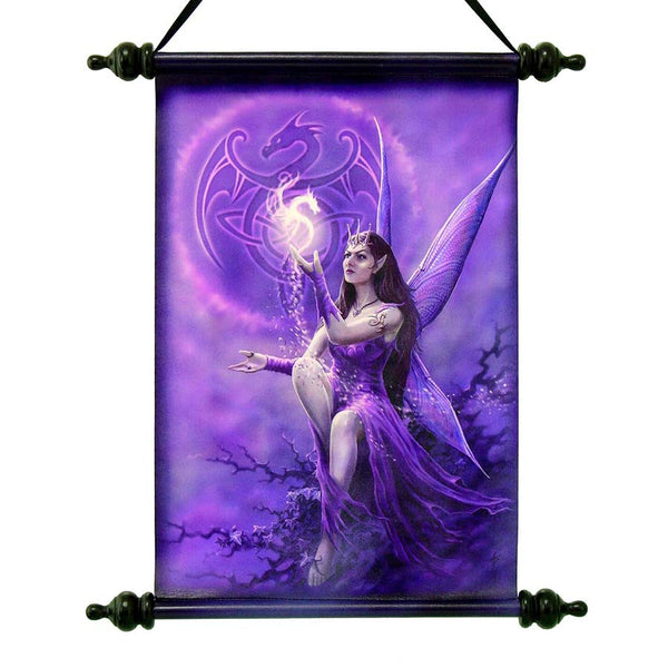 "17"" Celtic Mystical Dragon Fairy Canvas Dragon Wall Scroll Tapestry Hanging"