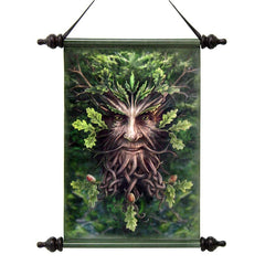 "17"" Decorative Forest Greenman Ent Canvas Wall Hanging Scroll Tapestry Hanging"