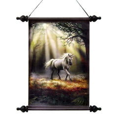 "17"" Mystical Unicorn Canvas Wall Hanging Scroll Tapestry Display Hanging"