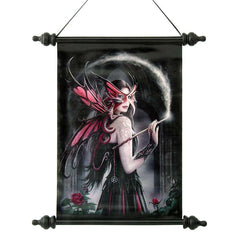 "17"" Sorceress Witch Dragon Fairy Canvas Wall Scroll Tapestry Hanging"