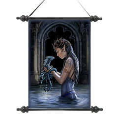 "17"" Gothic Water Dragon Canvas Wall Scroll Tapestry Hanging [Kitchen]"