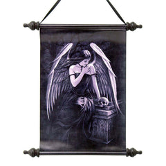 Mystical Dark Angel Canvas Wall Hanging Scroll Tapestry Display