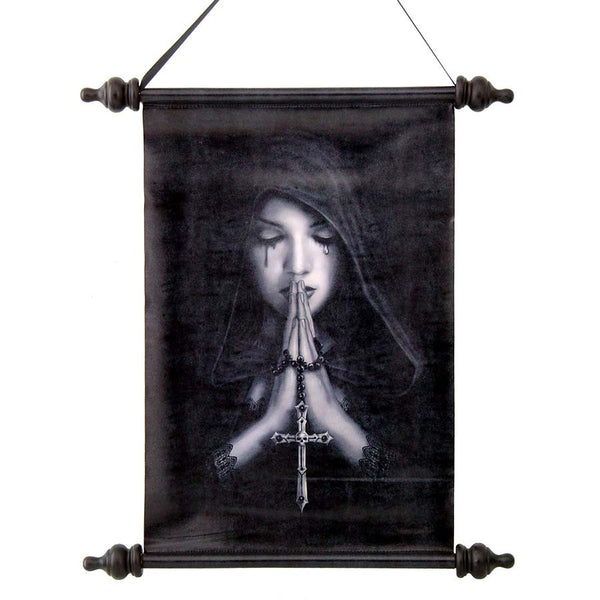 "17"" Gothic Prayer Canvas Wall Scroll Tapestry Hanging"
