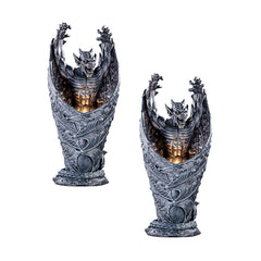 "13.5"" Dracula Dragon Gargoyle Sculpture Statue Lamp - Set of 2"