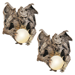 Meanest Baddest Gothic Winged Dragon Gargoyle Wall Sculpture Lamp - Set of 2