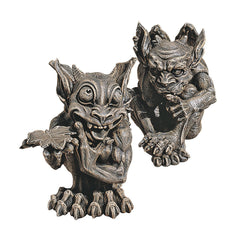 Mystical Gothic Dragon Gargoyle Home Garden Statue Sculpture Figurine - Set of 2